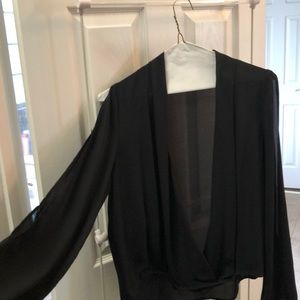 Black open front blouse